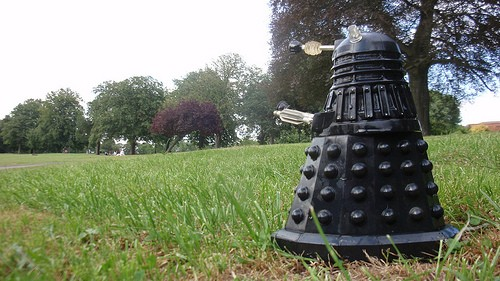 Glastonbury 2015 - a Dalek turns up several days after the Whos appearance.