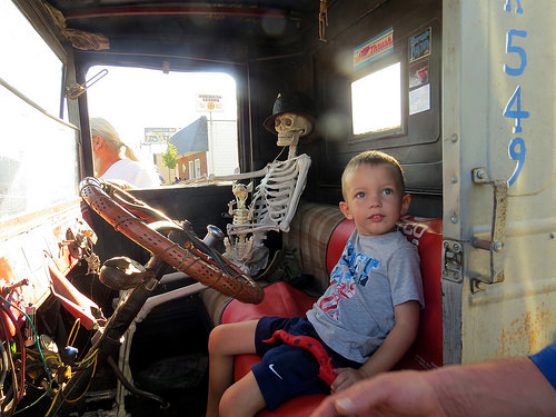 """Youre going to have to drive yourself to school today son, the bus company called and they are only running a skeleton staff""."
