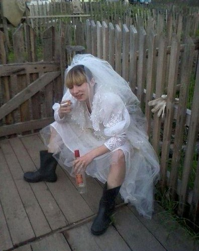 Here slums the bride