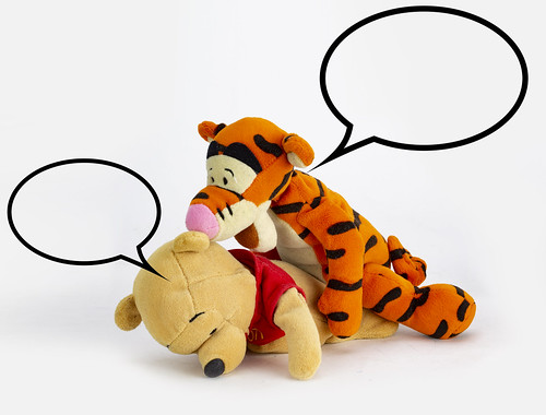 """Its not what it looks like Christopher Robin. I was just licking some honey off the floor and...""  ""Err yes, and I was bouncing in a Tigger-ific sort of way and accidentally landed on top of him."""