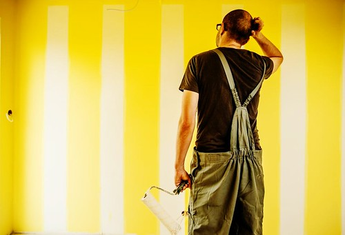 Pete was starting to get worried, he simply couldnt remember if she said a white wall with yellow stripes or a yellow wall with white stripes.